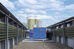 Scambiatore di calore tra due capannoni per la produzione di broiler