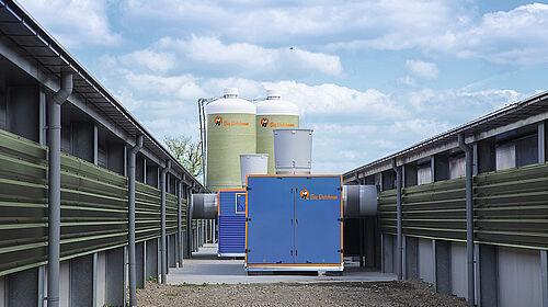 Scambiatore di calore tra due capannoni di broiler
