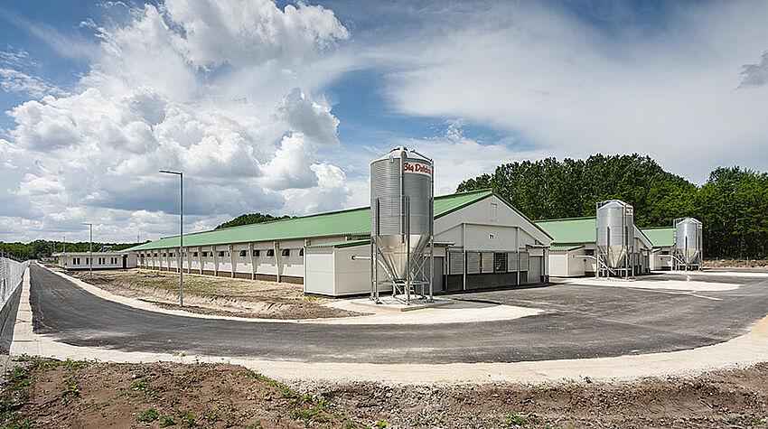 Tre capannoni e tre silos di alimentazione per la gestione dei riproduttori