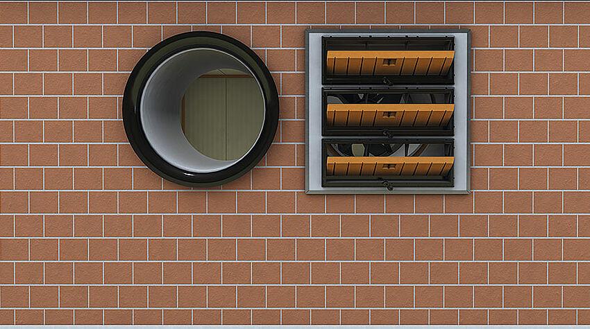 Interno del capannone con finestrella con deflettori