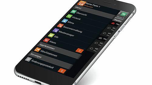 Vista di uno smartphone con l'app BigFarmNet