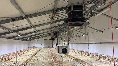 Attrezzature per il raggiungimento del clima ideale all'interno del capannone avicolo.