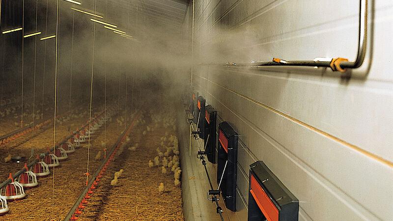 Nebulizzatori – Sistema di nebulizzazione di acqua ad alta pressione per il rinfrescamento degli allevamenti avicoli